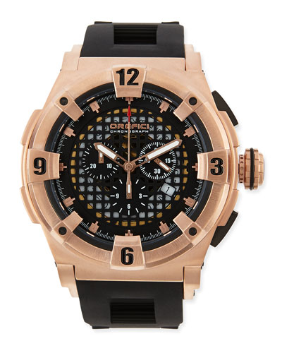 Orefici Watches Regatta Evolution Chronograph Watch, IP Rose Gold/Black
