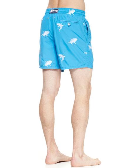 Mistral Embroidered Shark Swim Trunks, Blue