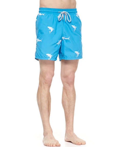 Mistral Embroidered Shark Swim Trunks, Blue