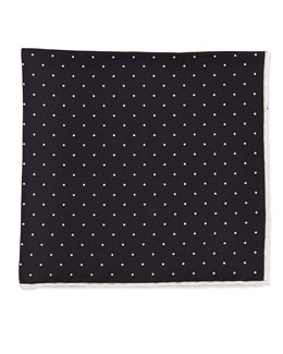 Neiman Marcus Dot-Print Pocket Square, Black