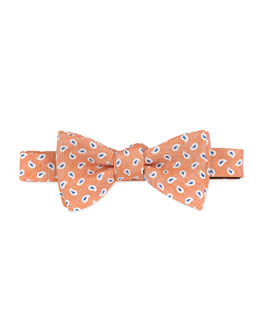 Neiman Marcus Pine-Print Silk-Twill Bow Tie, Orange