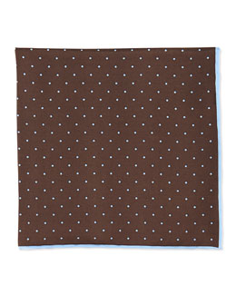 Neiman Marcus Dot-Print Pocket Square, Brown