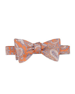 Neiman Marcus Paisley-Tapestry Silk Bow Tie, Orange