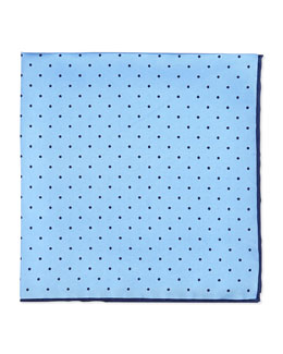 Neiman Marcus Dot-Print Pocket Square, Light Blue