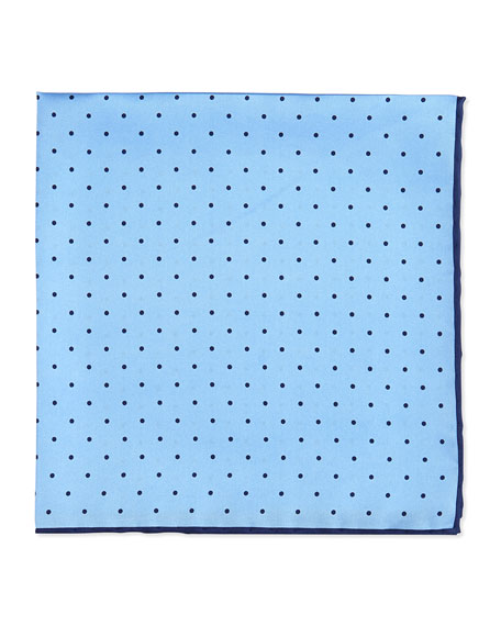 Dot-Print Pocket Square, Light Blue