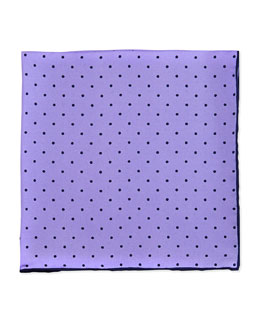 Neiman Marcus Dot-Print Pocket Square, Lilac/Navy