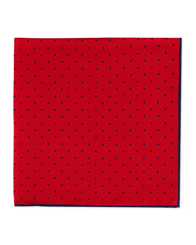 Neiman Marcus Dot-Print Pocket Square, Red/Navy