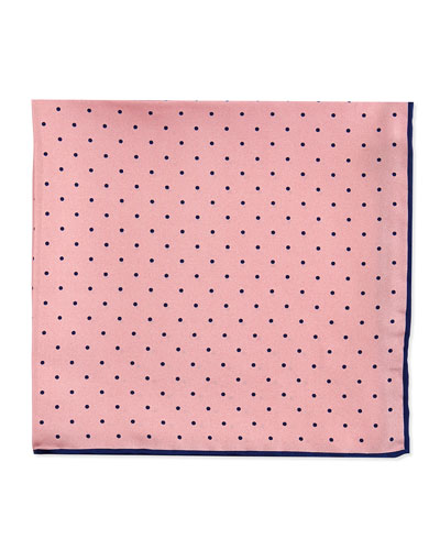 Neiman Marcus Dot-Print Pocket Square, Pink/Navy