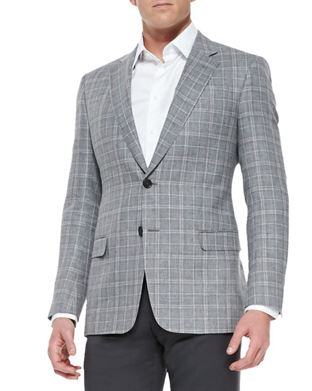 G-Line Plaid Two-Button Jacket, Gray/Brown