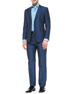 Paul Smith The Byard Herringbone Dot Suit, Blue