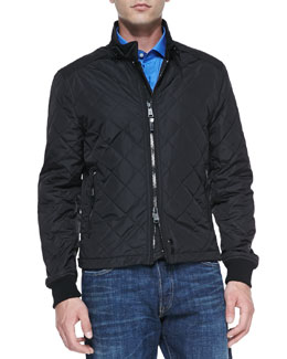 Ralph Lauren Black Label Quilted Two-Way Zip Jacket, Black