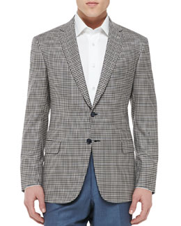 Brioni Check Wool Jacket, Crème/Navy
