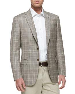 Brioni Plaid Two-Button Jacket, Tan/Brown