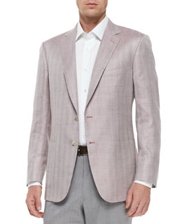 Brioni Herringbone Two-Button Jacket, Pink