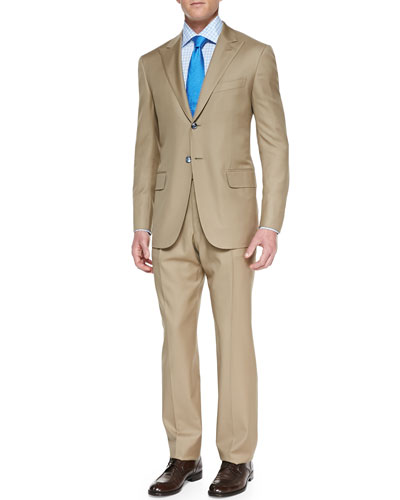 Isaia Solid 'Aquaspider' Wool Suit, Khaki
