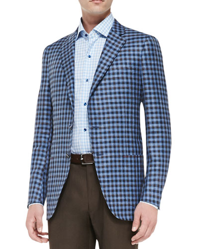 Isaia Exploded Check Jacket, Blue/Brown