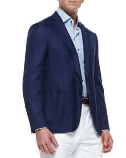 Isaia Soft Two-Button Blazer, Blue