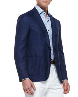 Isaia Soft Two-Button Blazer, Blue