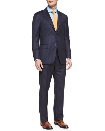 Isaia Pinstripe Two-Piece Suit, Navy
