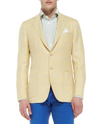 Windowpane Three-Button Jacket, Yellow