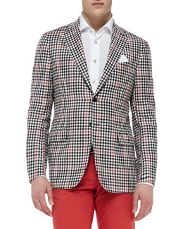 Kiton Check Jacket with Contrast Pane, Black/Red