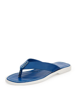 Ralph Lauren Black Label Leather Thong Sandal, Royal