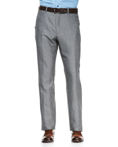 Solid Wool/Linen Trousers, Gray