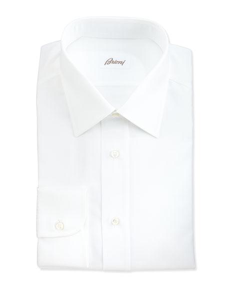 Brioni Herringbone Dress Shirt, White