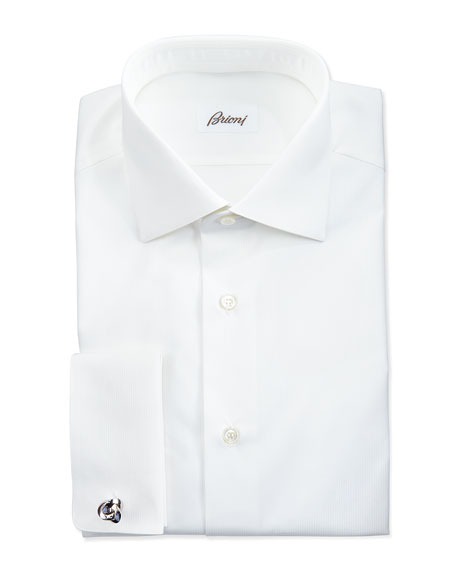Brioni Micro Striped Dress Shirt, White