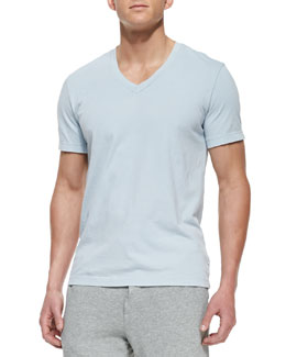 James Perse Jersey V-Neck Tee, Light Blue