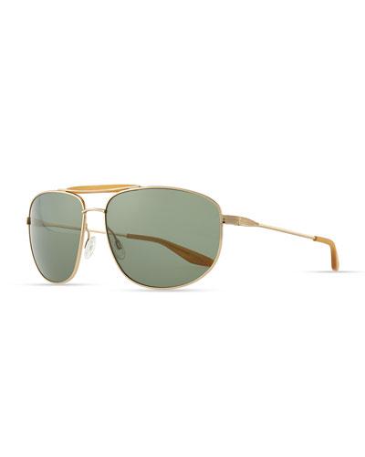 Barton Perreira Libertine Aviator Sunglasses, Golden