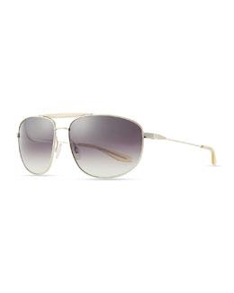 Barton Perreira Libertine Aviator Sunglasses, Silver