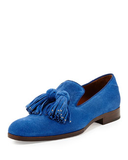 Jimmy Choo Foxley Men's Tassel Suede Loafer, Royal Blue