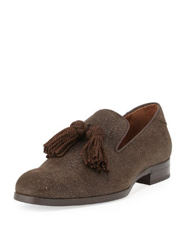 Jimmy Choo Foxley Men's Tassel Suede Loafer, Brown