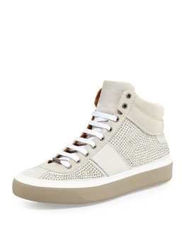 Jimmy Choo Belgravia Men's Mini-Studded High-Top Sneaker, White