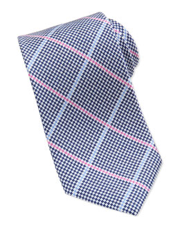 Neiman Marcus Houndstooth-Print Striped Silk Tie, Navy