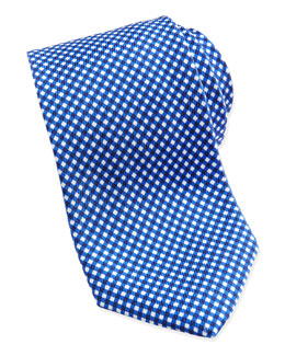 Neiman Marcus Gingham Check Pattern Tie, Blue