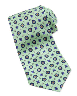 Neiman Marcus Flower-Medallion Pattern Silk Tie, Mint