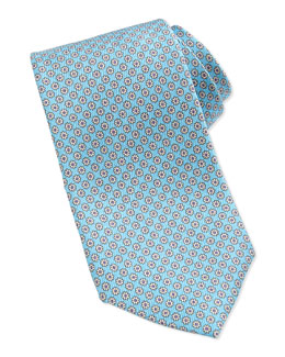 Neiman Marcus Mini-Flower Pattern Silk Tie, Aqua
