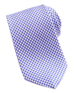 Neiman Marcus Gingham Check Silk Tie, Purple