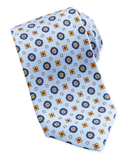 Neiman Marcus Flower-Medallion Pattern Silk Tie, Lt. Blue