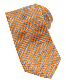 Neiman Marcus Mini-Flower Pattern Silk Tie, Orange