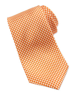 Neiman Marcus Gingham Check Silk Tie, Orange