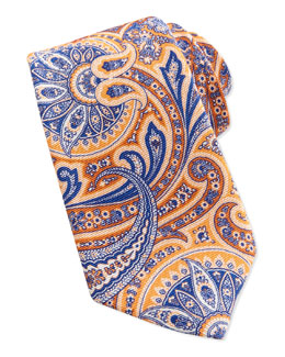 Neiman Marcus Paisley Pattern Silk Tie, Orange