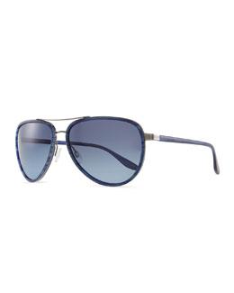 Barton Perreira Marshall Aviator Sunglasses, Blue