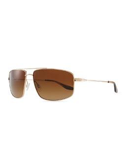 Barton Perreira Hockett Aviator Sunglasses, Gold