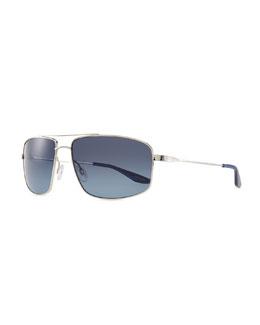Barton Perreira Hockett Aviator Sunglasses, Silver