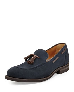 Brunello Cucinelli Tassel Suede Loafer, Navy