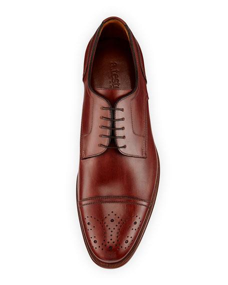 Calfskin Cap-Toe Derby Shoe, Black