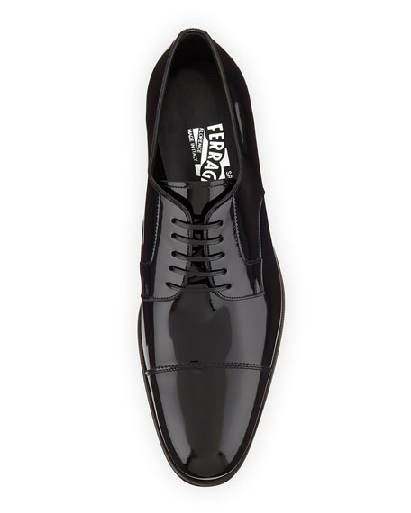 Rand Patent Leather Lace-Up, Black